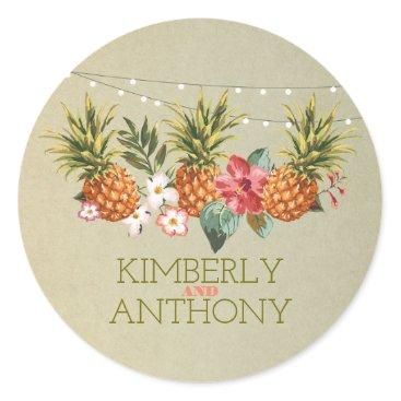 Beach Themed pineapple tropical beach wedding classic round sticker