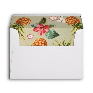 Beach Themed pineapple tropical beach wedding envelope