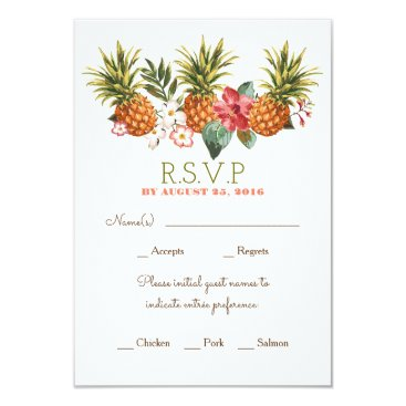 Beach Themed pineapple tropical beach wedding rsvp card