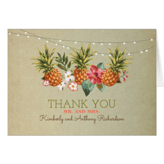 pineapple tropical beach wedding thank you card