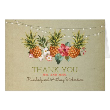 Beach Themed pineapple tropical beach wedding thank you card