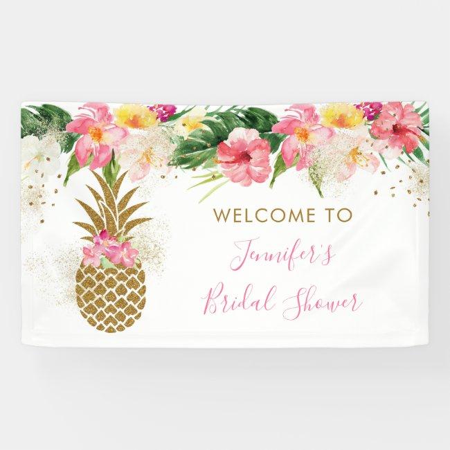 Pineapple Tropical Floral Bridal Shower Banner