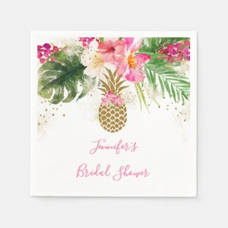Pineapple Tropical Floral Bridal Shower Napkins