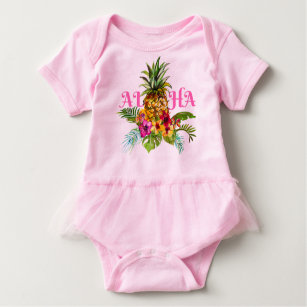 6b0119d11ca0 Pineapple Tropical Leaves Flowers Aloha Hawaii Baby Bodysuit