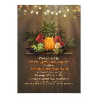 Pineapple Tropical Lights Beach Birthday Party Card