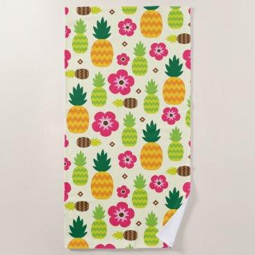Beach Themed Pineapple Tropical Summer Seamless Pattern Beach Towel