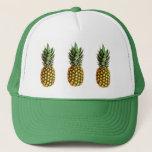 "Pineapple trucker hat<br><div class=""desc"">Pineapple trucker hat. Cute gift idea for vegetarians. Tropical fruit photo image design. (Ananas comosus)</div>"