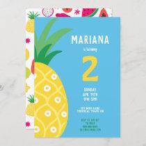 Pineapple Tutti Frutti Fruit Birthday Party Blue Invitation