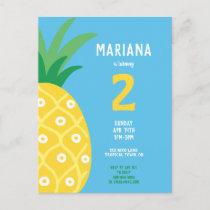 Pineapple Tutti Frutti Fruit Birthday Party Blue Invitation Postcard