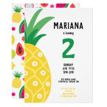 Pineapple Tutti Frutti Fruit Birthday Party Invitation