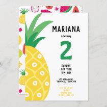 Pineapple Tutti Frutti Fruit Birthday Party Invitation