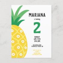 Pineapple Tutti Frutti Fruit Birthday Party Invitation Postcard
