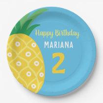 Pineapple Tutti Frutti Fruit Blue Birthday Party Paper Plate