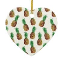 Pineapple Wallpaper Pattern Ceramic Ornament