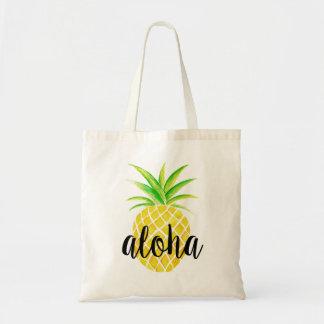 Pineapple Watercolor Aloha Tropical Bag