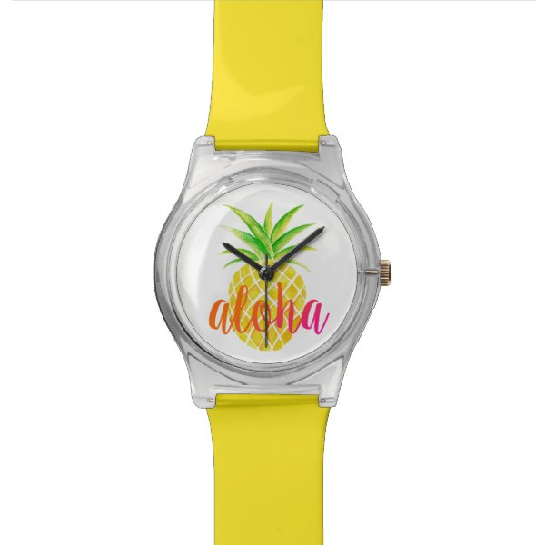 Pineapple Watercolor Aloha Tropical Watch
