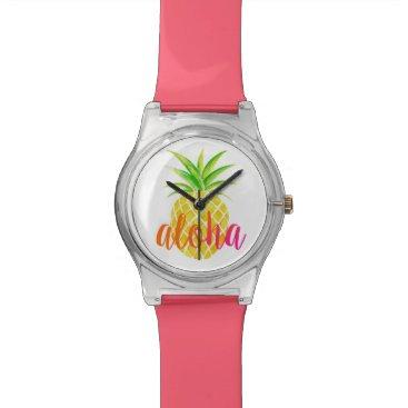 Beach Themed Pineapple Watercolor Aloha Tropical Watch