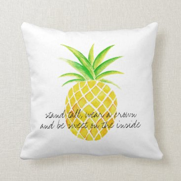 Beach Themed Pineapple Watercolor Stand Tall Wear a Crown Throw Pillow