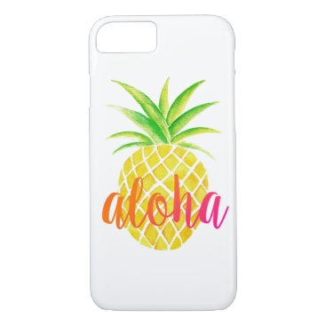 Beach Themed Pineapple Watercolor Tropical Aloha Pink iPhone 7 Case