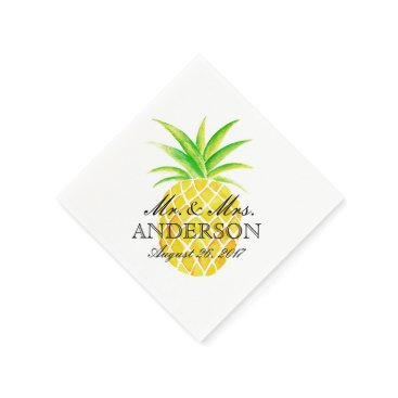 Beach Themed Pineapple Watercolor Tropical Wedding Napkin