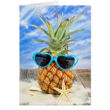 Valentines Themed pineapple wearing heart sunglasses card