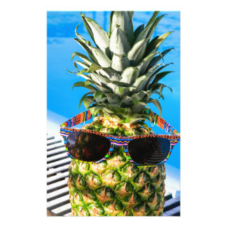 Pineapple wearing sunglasses at swimming pool stationery