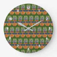 Pineapple Wearing Sunglasses Pattern Foodies, ZSSG Large Clock