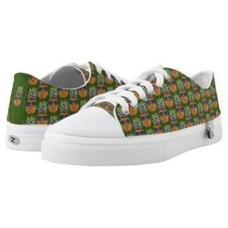 Pineapple Wearing Sunglasses Pattern Foodies, ZSSG Low-Top Sneakers