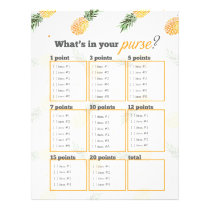 Pineapple What's in your purse? bridal shower game Letterhead