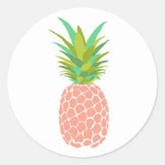 Pineapple +White Classic Round Sticker