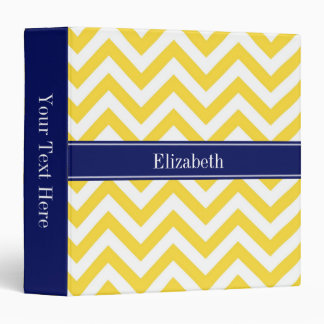 Pineapple White LG Chevron Navy Blue Name Monogram 3 Ring Binder
