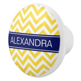 Pineapple White LG Chevron Navy Blue Name Monogram Ceramic Knob