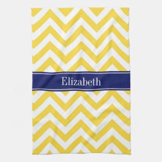 Pineapple White LG Chevron Navy Blue Name Monogram Kitchen Towel