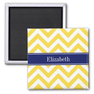 Pineapple White LG Chevron Navy Blue Name Monogram Magnet