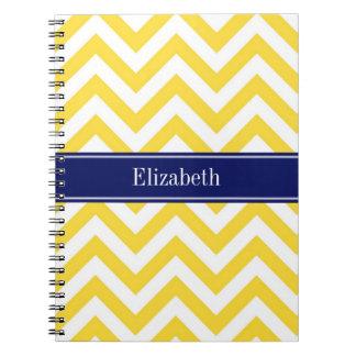 Pineapple White LG Chevron Navy Blue Name Monogram Notebook