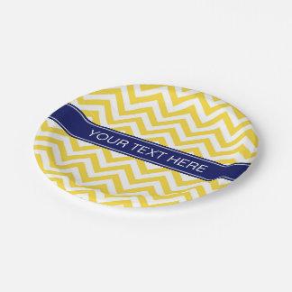 Pineapple White LG Chevron Navy Blue Name Monogram Paper Plate