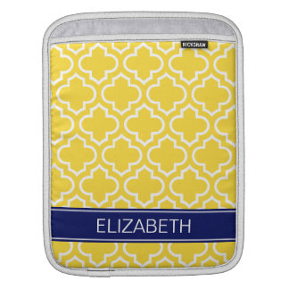Pineapple White Moroccan #6 Navy Name Monogram Sleeve For iPads