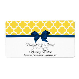 Pineapple, White Moroccan Navy Bow Water Label