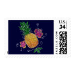 """Pineapple"" (White Outlines) - Postage Stamp"