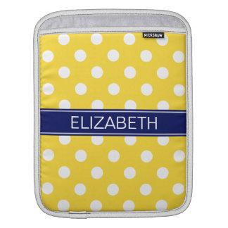 Pineapple White Polka Dots #2 Navy Name Monogram iPad Sleeve