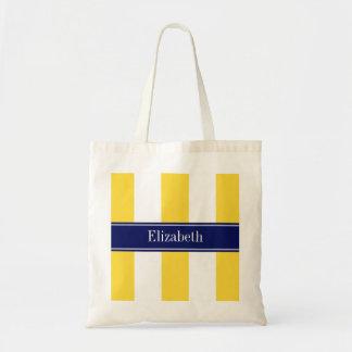 Pineapple White XL Stripes, Navy 5c Name Monogram Tote Bag