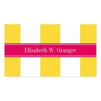 Pineapple White XL Stripes,Raspberry Name Monogram Business Cards