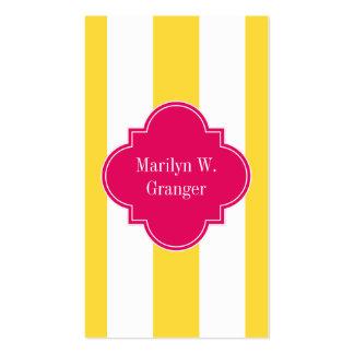 Pineapple White XL Stripes,Raspberry Name Monogram Business Card
