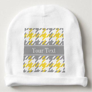 Pineapple Wht Dk Gray Houndstooth Name Monogram Baby Beanie