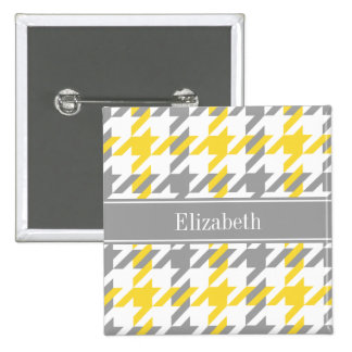 Pineapple Wht Dk Gray Houndstooth Name Monogram 2 Inch Square Button
