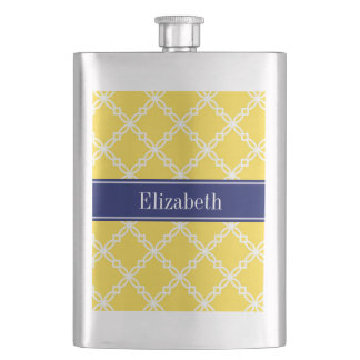 Pineapple Wht Fancy Quatrefoil Navy Name Monogram Hip Flask