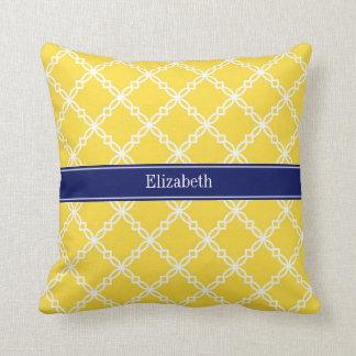 Pineapple Wht Fancy Quatrefoil Navy Name Monogram Throw Pillows