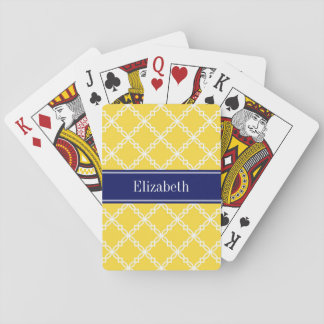 Pineapple Wht Fancy Quatrefoil Navy Name Monogram Playing Cards