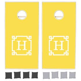 Pineapple Wht Greek Key Frame #2 Initial Monogram Cornhole Sets