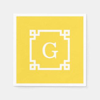 Pineapple Wht Greek Key Frame #2 Initial Monogram Paper Napkin